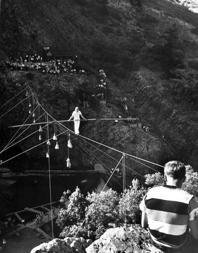 82 year old tightrope walker Ivy Baldwin at Boulder Dam, Colorado, 1948.