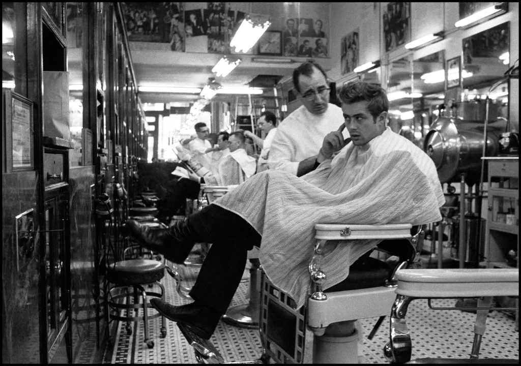 James Dean at a barber shop near Times Square, New York. 1955.