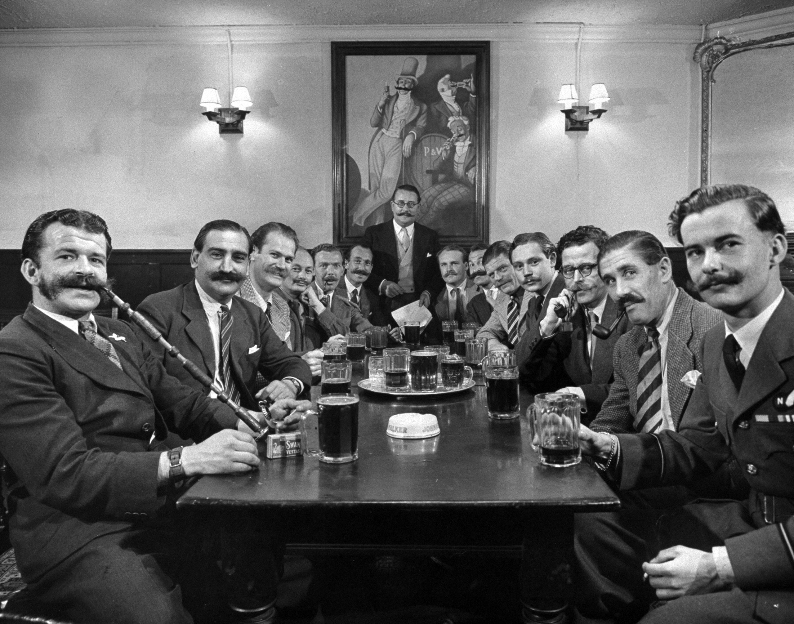 Members of the London Handlebar Club, 1947.