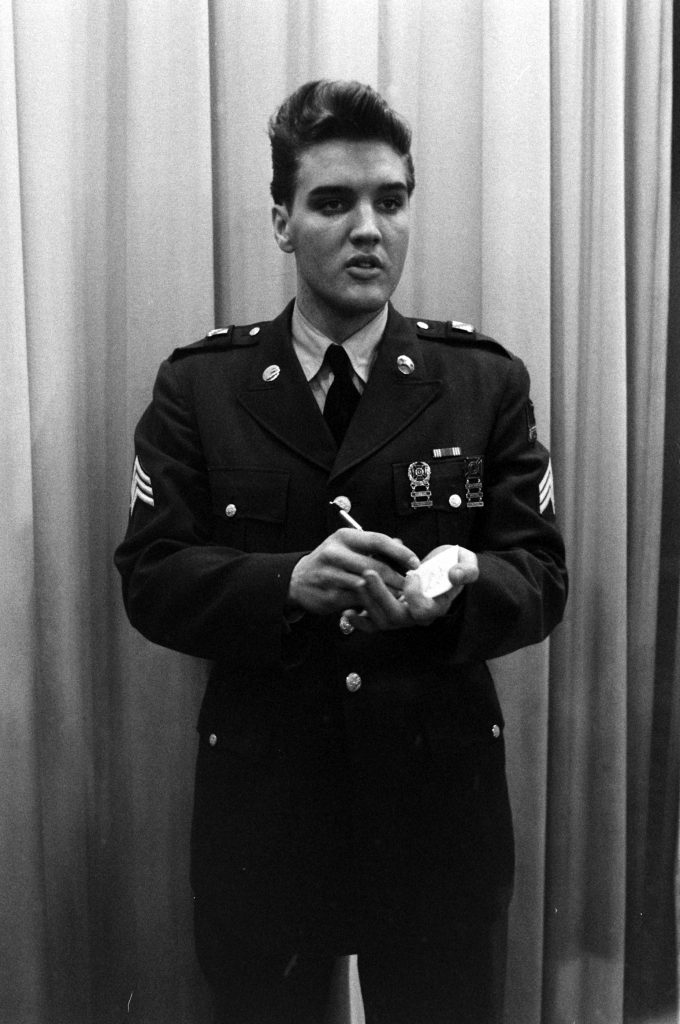 Elvis Presley at Fort Dix, New Jersey, shortly before his discharge from the U.S. Army.
