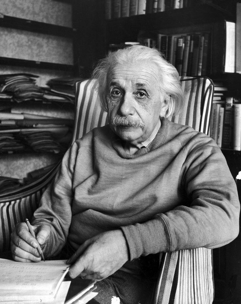 Scientist Albert Einstein in his study at home.
