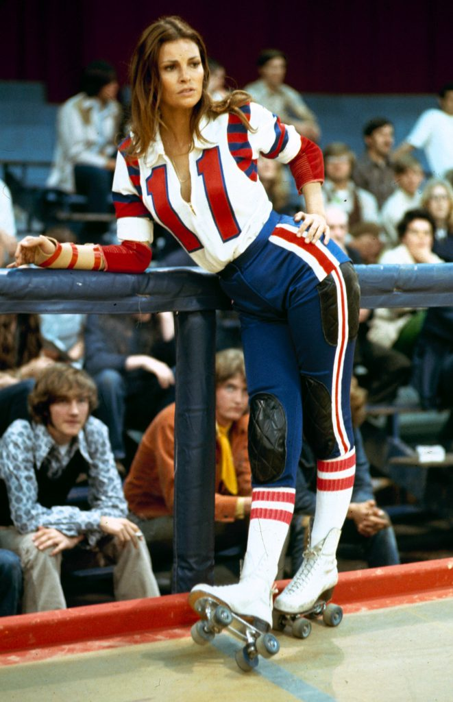 "Raquel Welch in roller derby uniform during filming of motion picture ""The Kansas City Bomber."""