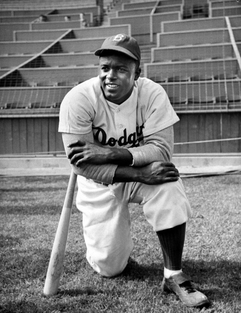 Baseball great Jackie Robinson in Brooklyn Dodgers uniform.