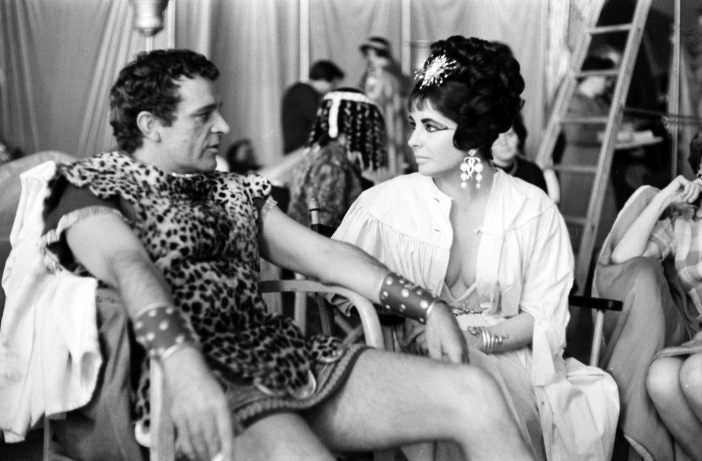 Richard Burton and Elizabeth Taylor on the set of Cleopatra.