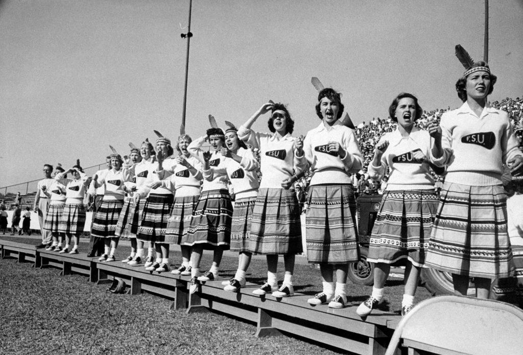 Cheerleaders at Florida State University, 1952.