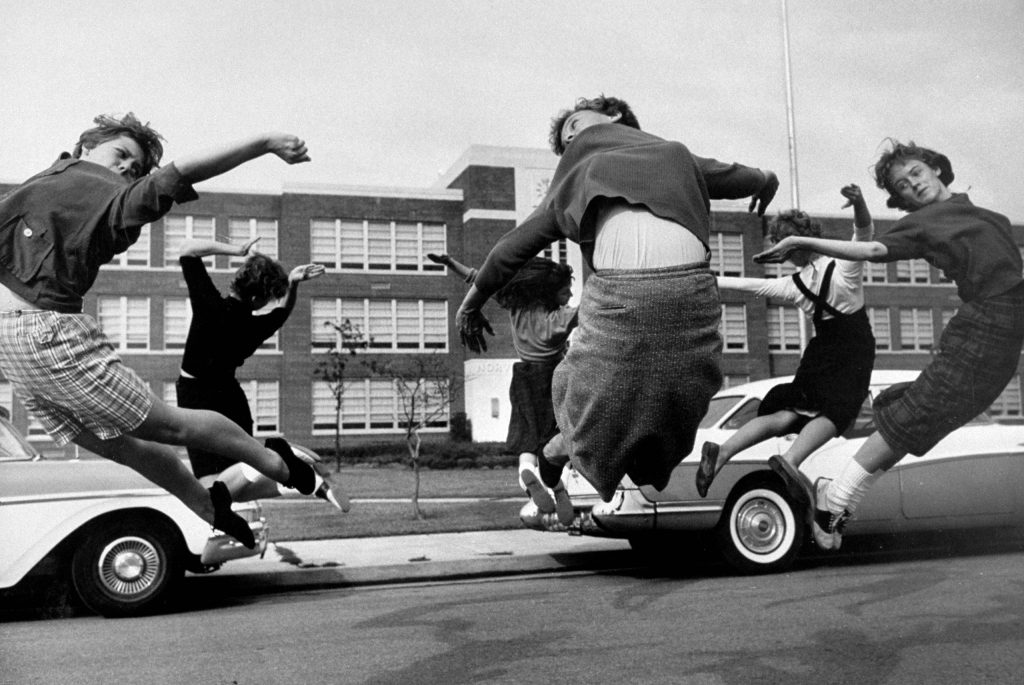 Students participating in a cheerleading practice, 1958.