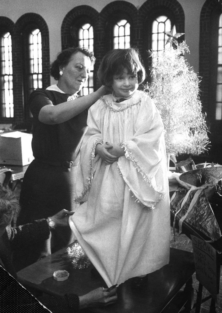 Preparations for Christmas pageant at Bryn Mawr Community Church, 1956.