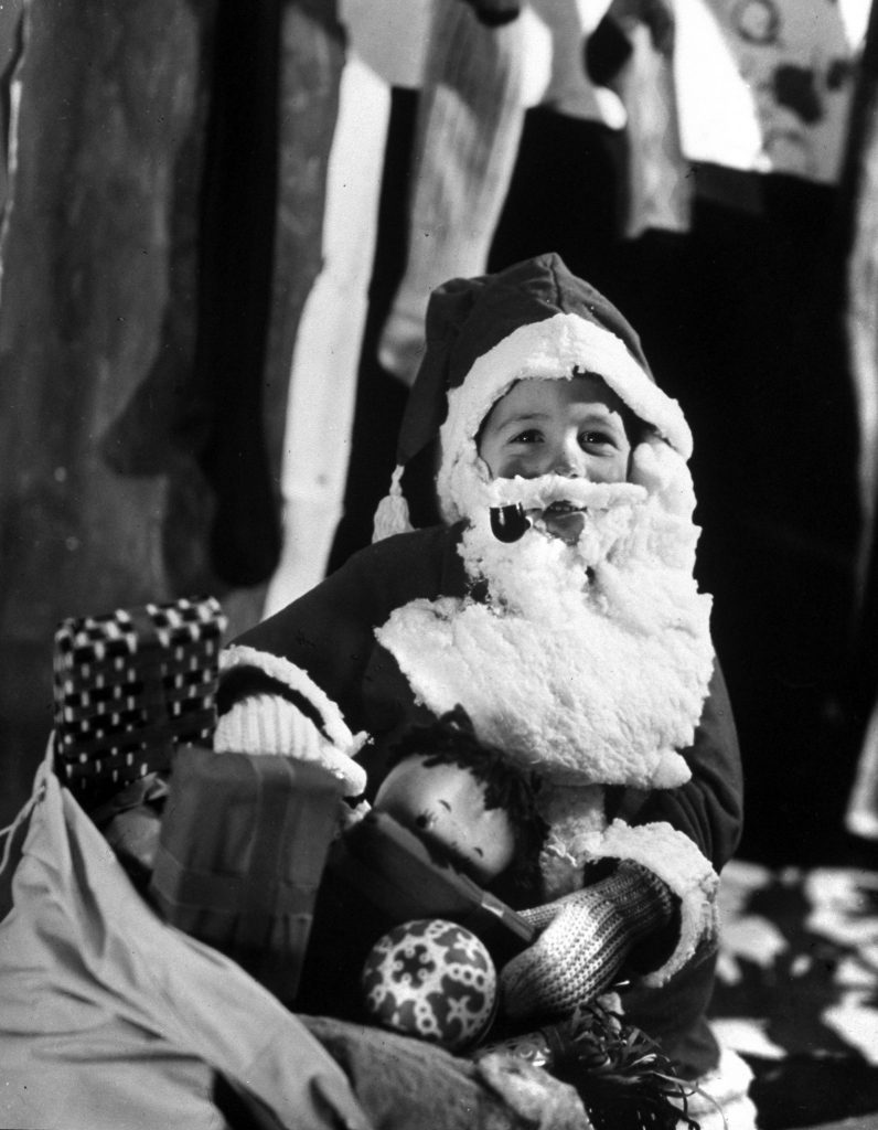 Young Santa Claus in a Christmas program at Elizabeth Morrow School, 1958.