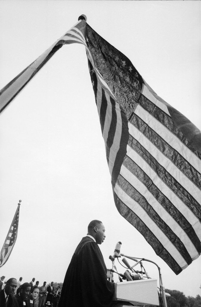 Rev. Martin Luther King Jr. speaking at 'Prayer Pilgrimage for Freedom' at Lincoln Memorial, 1957.