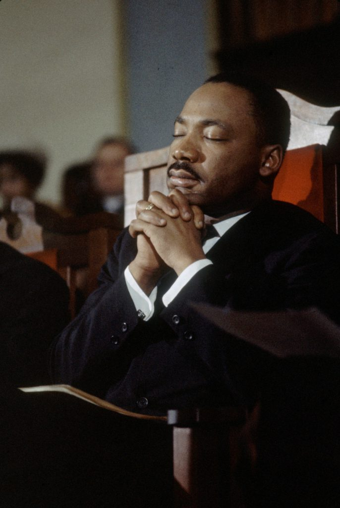 Civil Rights leader Martin Luther King Jr leads a prayer in a church before the second Selma to Montgomery Civil Rights march, also known as 'Turnaround Tuesday', Selma, Alabama, 9th March 1965.