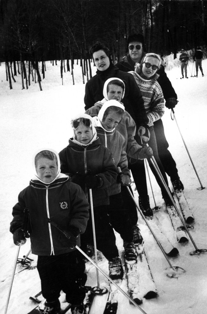 Ski family, the Edward McMahons of Stowe, group before a run. Mr. McMahon, wife Marilyn, her mother, Mrs. Gale Shaw, Suzanne 10, Sally 7, Debbie 5, Patty 3 practice together weekends.