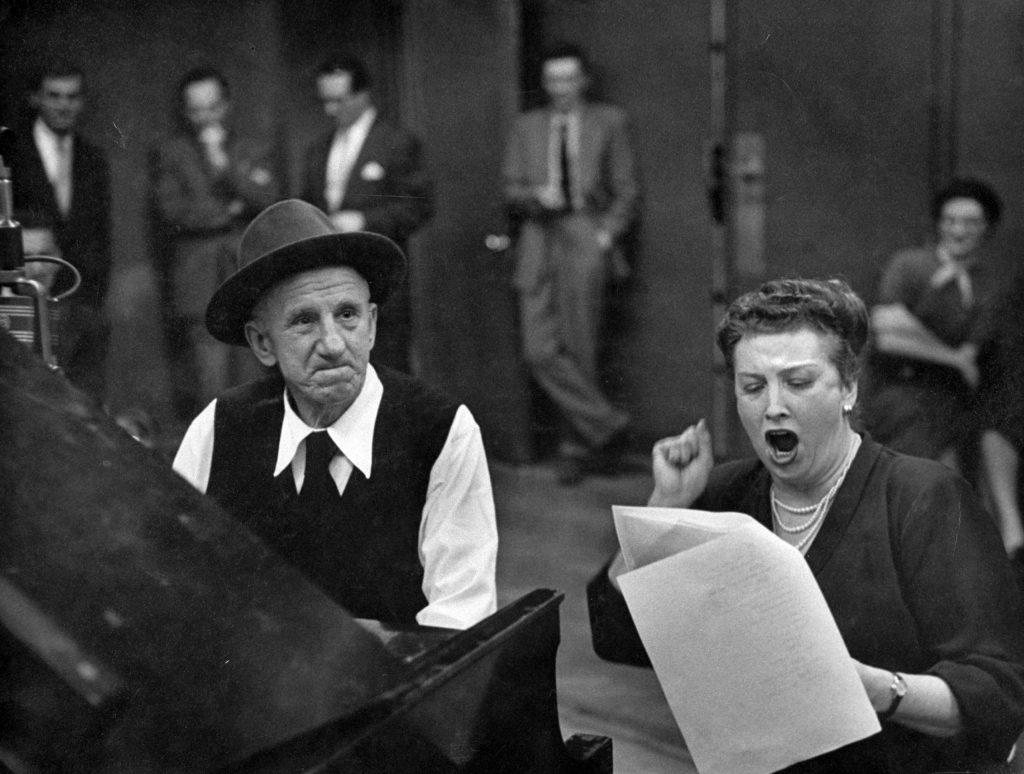 Comedian and opera star, Jimmy Durante and Helen Traubel, join in A Real Piano Player. Jimmy was serious during his duet with a high-brow artist.