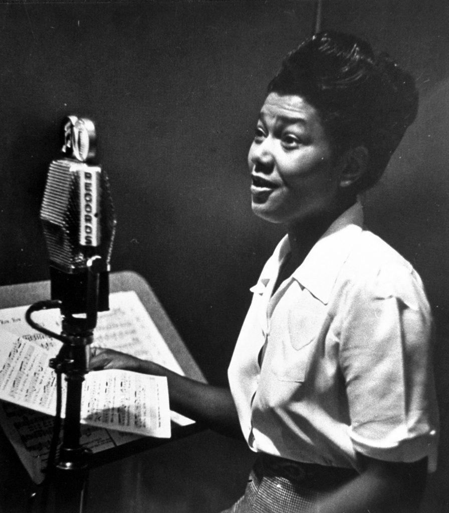Pearl Bailey in a CBS recording session.