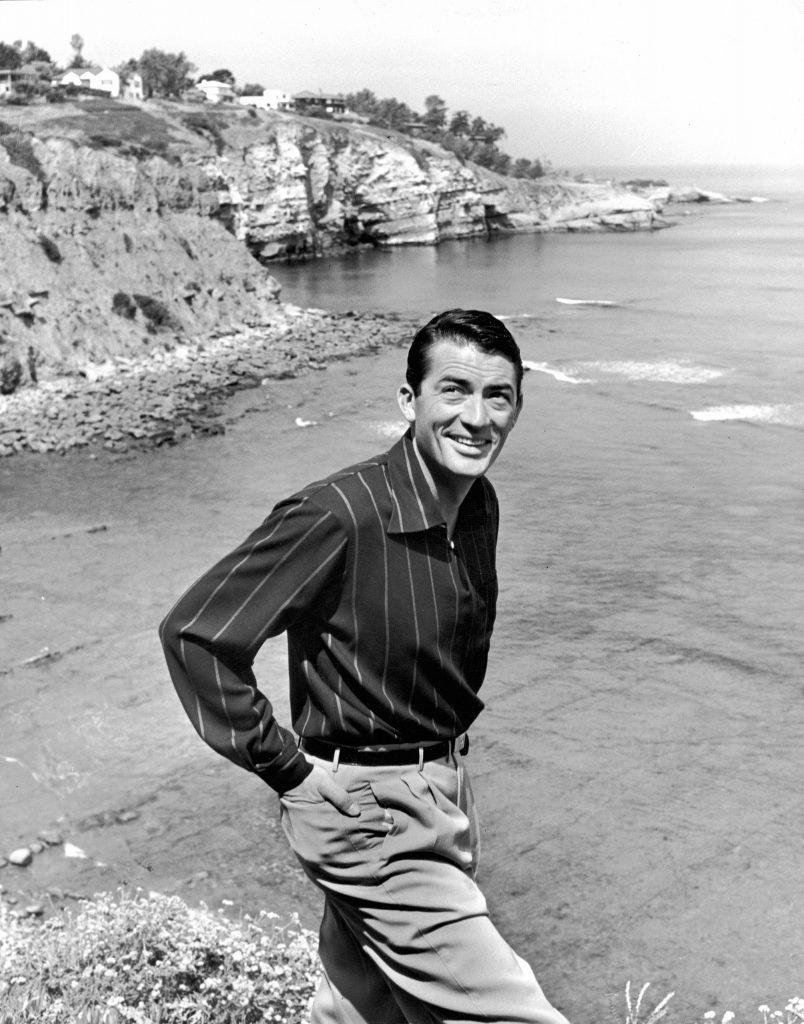 Actor Gregory Peck at the beach in La Jolla, California. 1949.