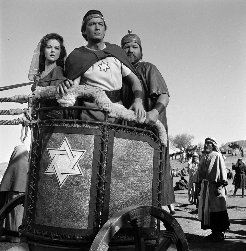 """Gregory Peck and Susan Hayward on the set of the 1951 film """"David and Bathsheba."""""""