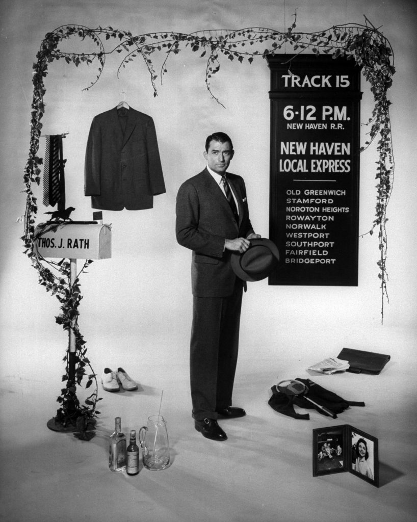 """Gregory Peck in promotional shot for the film """"The Man in the Gray Flannel Suit."""" 1956."""