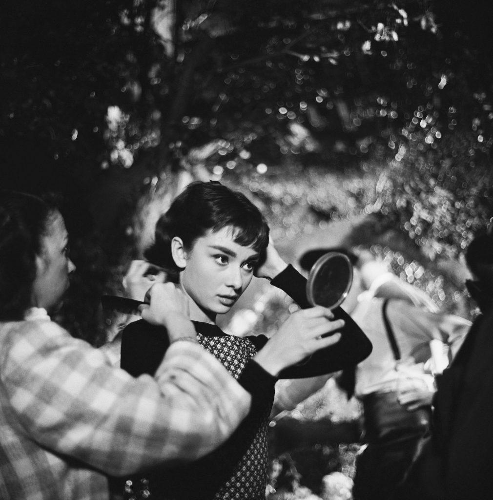 Audrey Hepburn on the set of Sabrina.