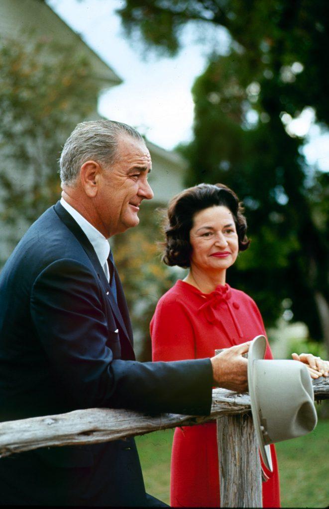 Lyndon B. Johnson and wife Lady Bird on election night, 1964.