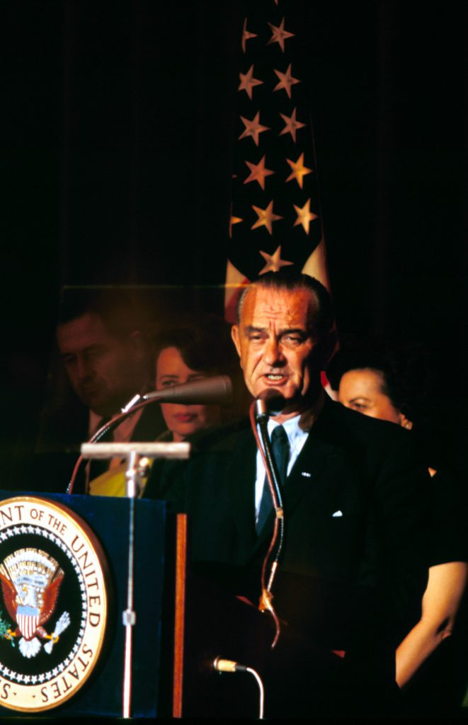 Lyndon B. Johnson on election night, 1964.