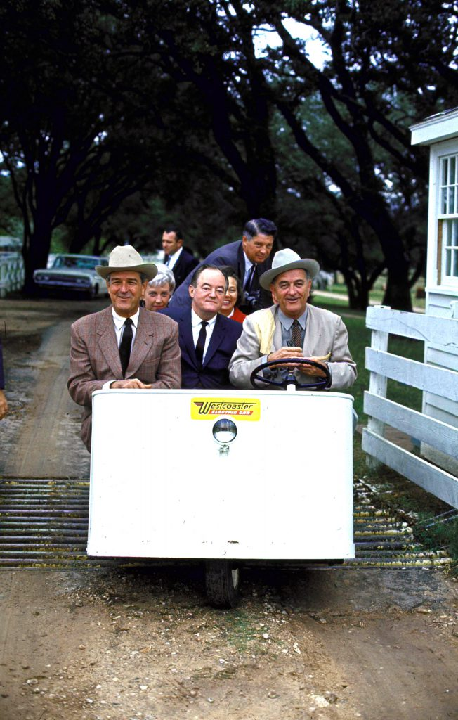 (L-R) VP Hubert Humphrey, Texas governor John Connally and President Lyndon Johnson on Johnson's ranch morning after he and Humphrey won the national election. 1964.