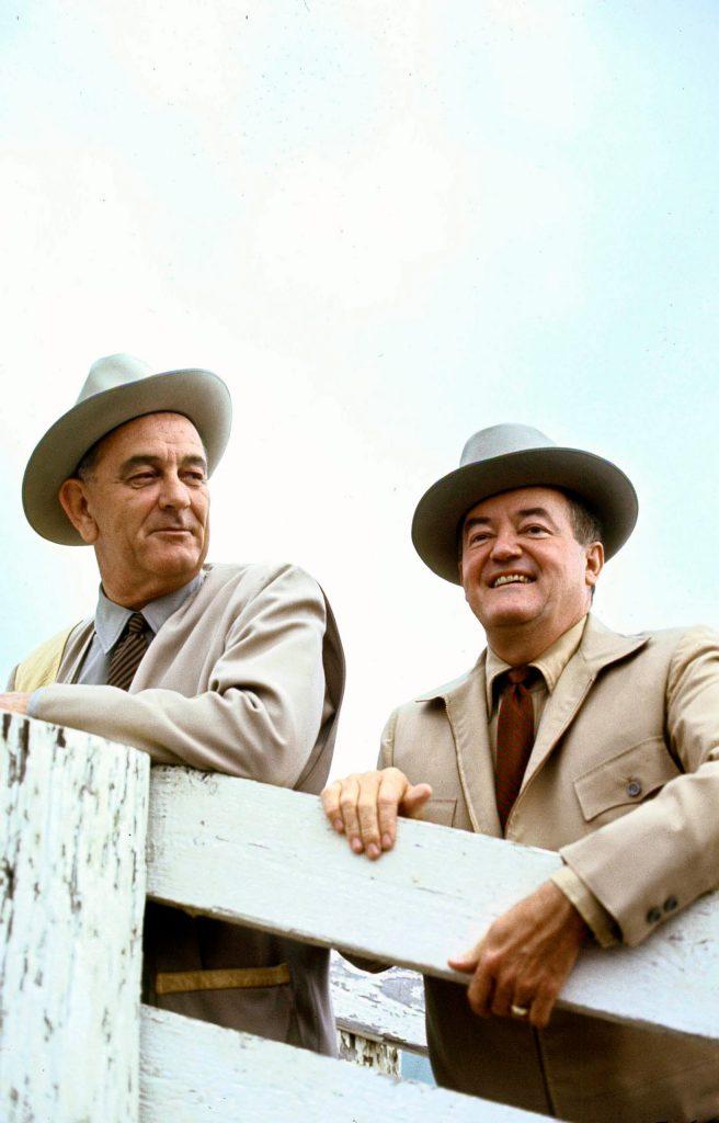 President Lyndon Johnson and VP Hubert Humphrey the morning after winning election. 1964.