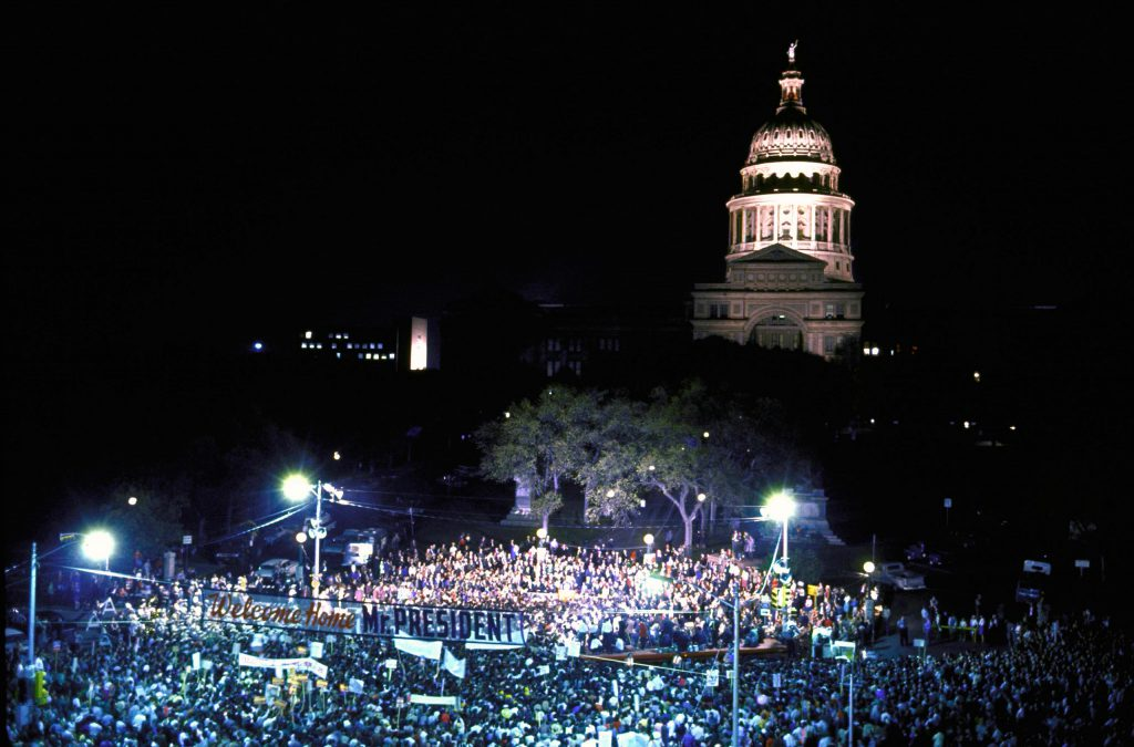 Touch of Texas. A raucous rally greeted the President's election eve homecoming in Austin.