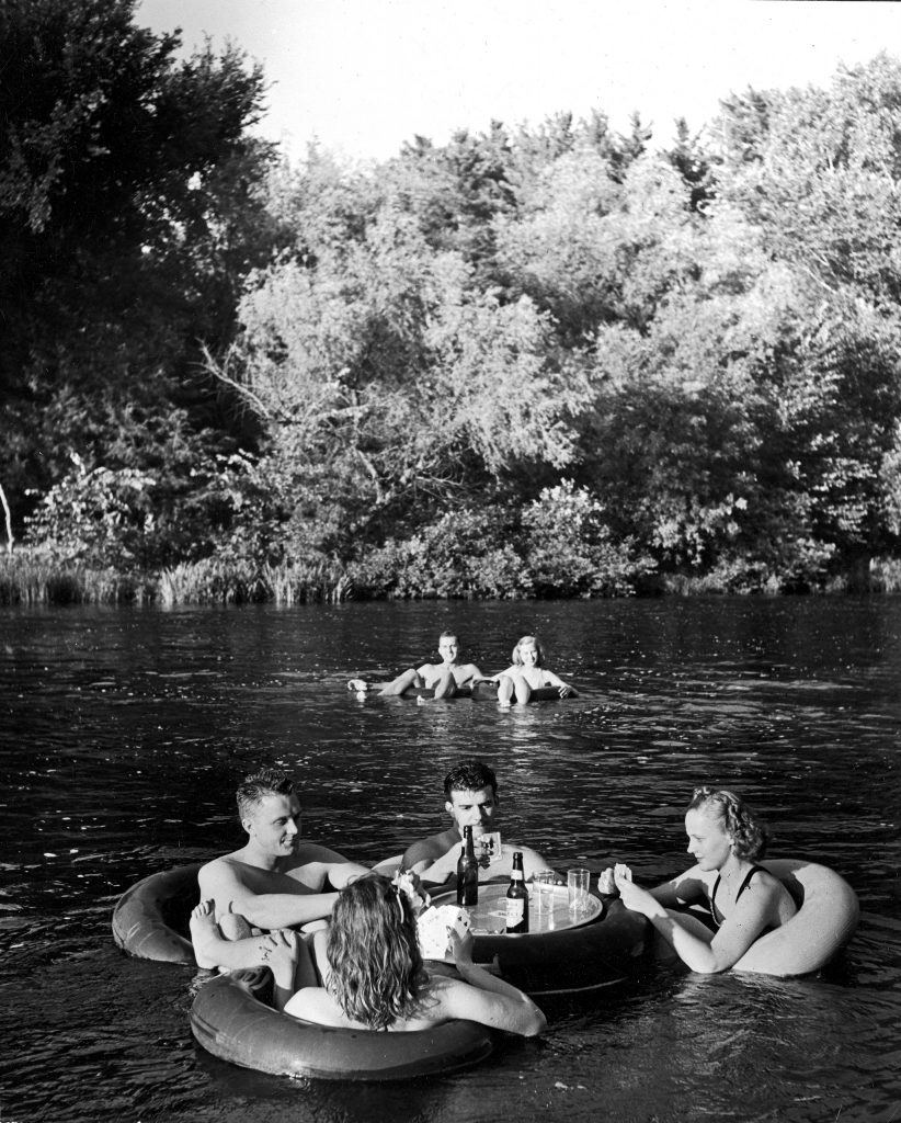 A floating party on the Apple River in Somerset, Wisconsin in 1941.