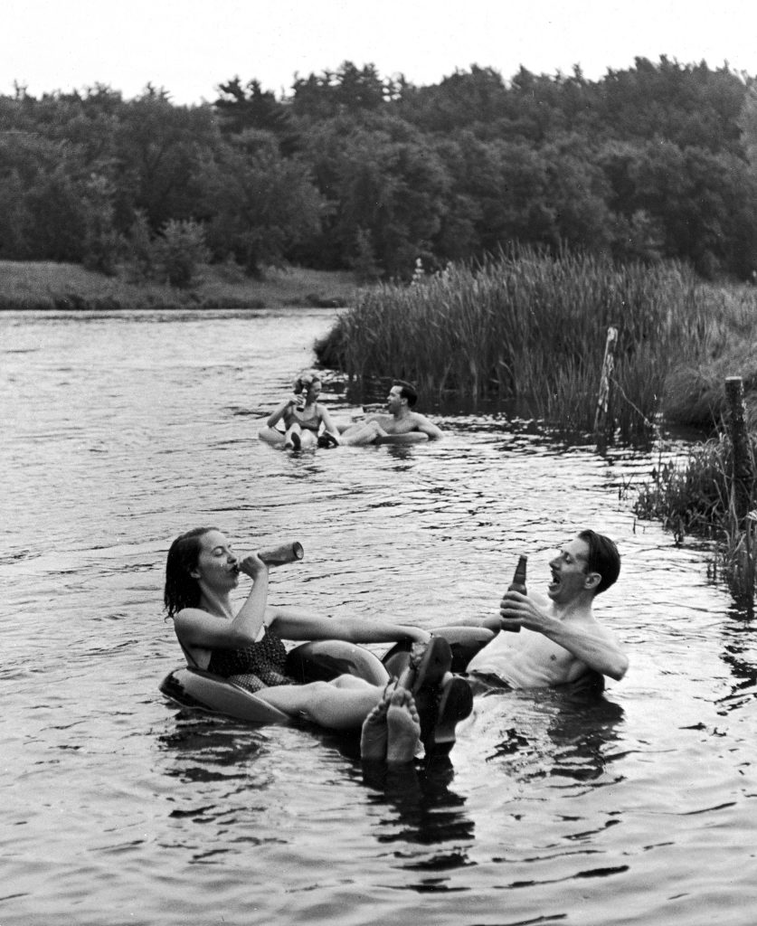 A floating party on the Apple River in Somerset, Wisconsin in 1941.``
