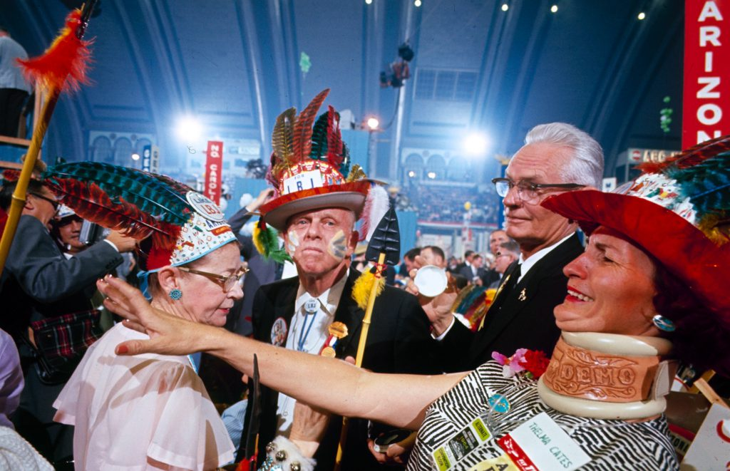 Colorful hats and clothing at the Democratic National Convention, 1964.