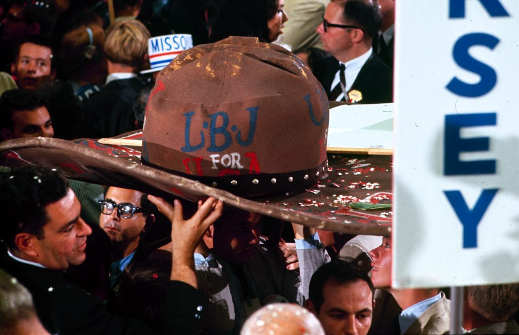 Colorful hat supporting Lyndon Johnson at the Democratic National Convention, 1964.