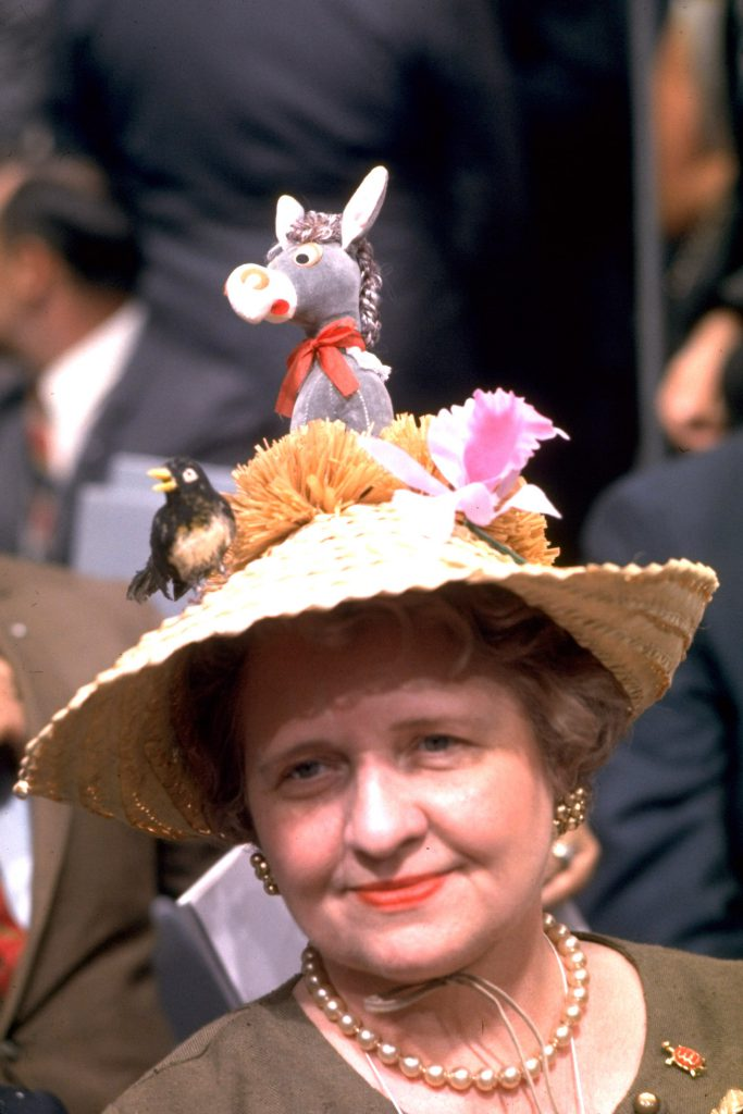 Colorful hat at the Democratic National Convention, 1968.
