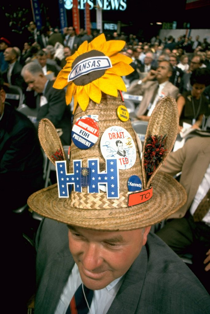 Colorful hat supporting Hubert Humphrey at the Democratic National Convention, 1968.