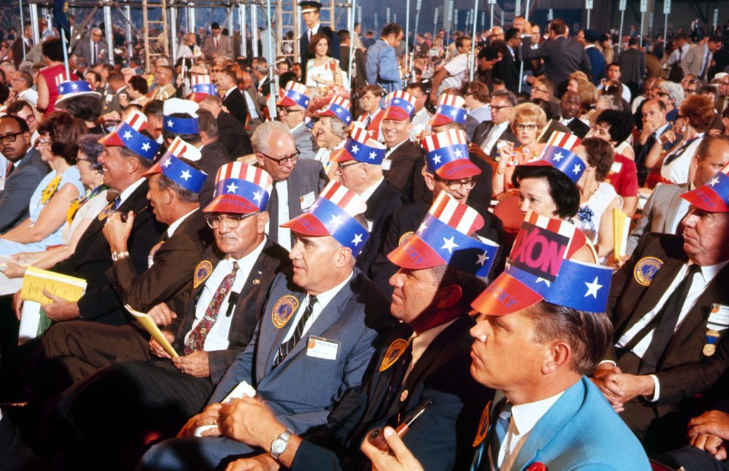 Richard Nixon supporters at the Republican National Convention, 1968.