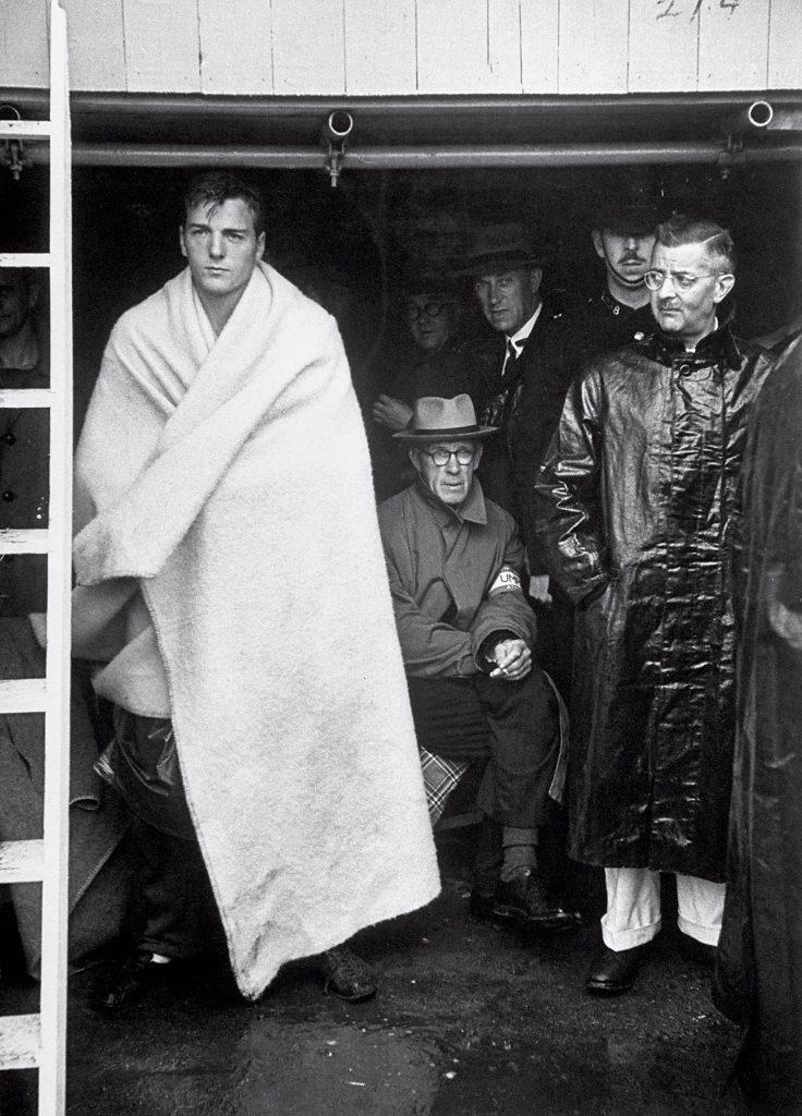 US decathlon winner Robert B. Mathias waiting for turn at pole vault at the 1948 summer Olympics in London.