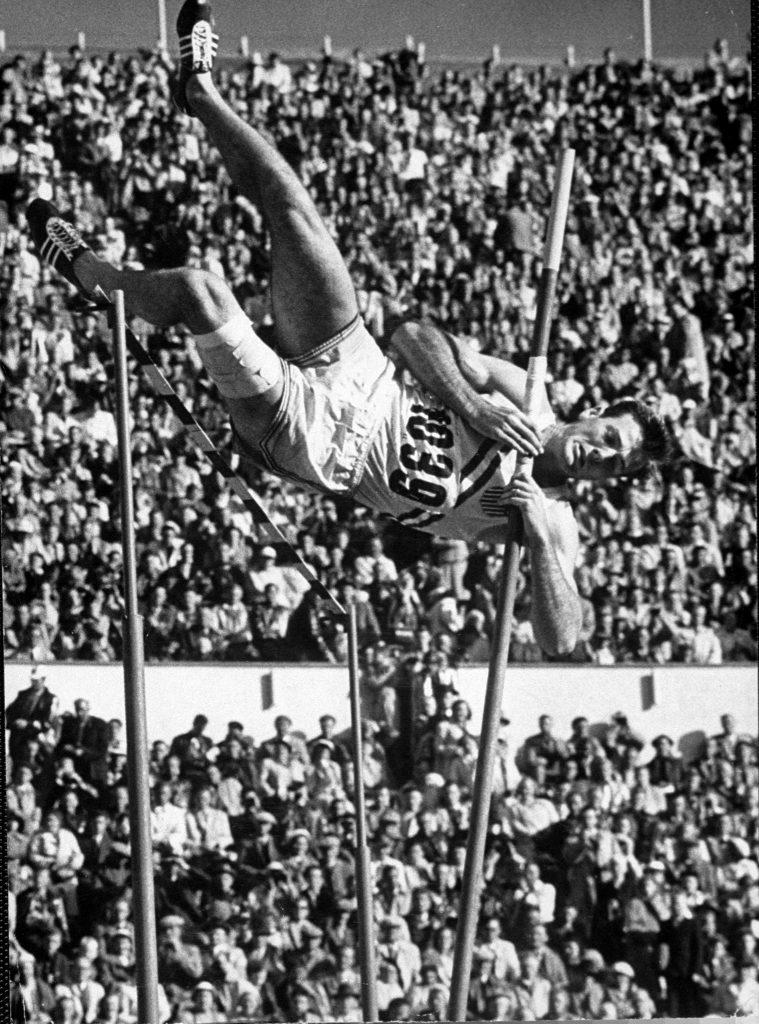 Robert B. Mathias attempting the pole vault at 1952 summer Olympics in Helsinki, Finland.