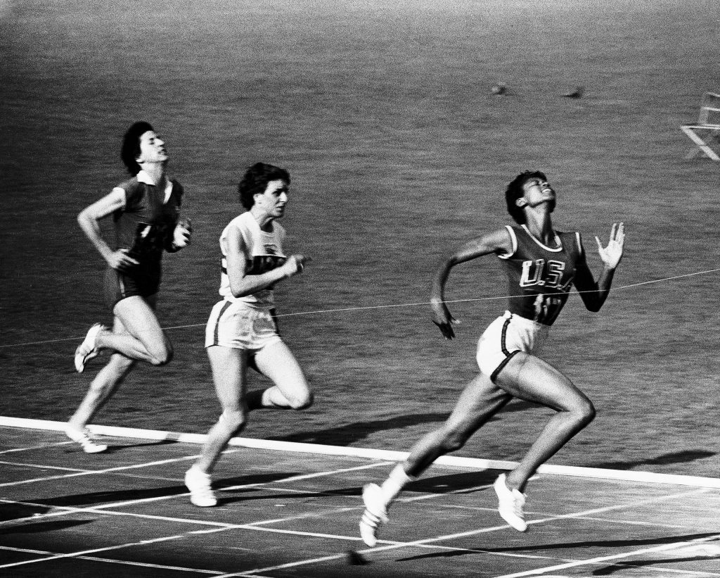 US Runner Wilma Rudolph winning women's 100-meter race at the 1960 summer Olympics in Rome, Italy.