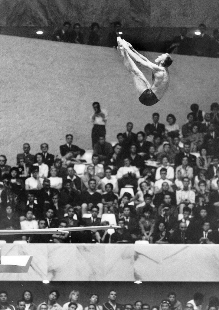 U.S. platform diver Frank Gorman competing in the 1964 summer Olympics in Tokyo, Japan.