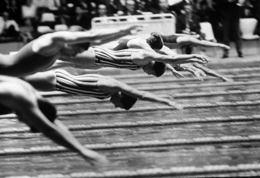 U. S. swimmers competing during the 1964 summer Olympics in Tokyo, Japan.