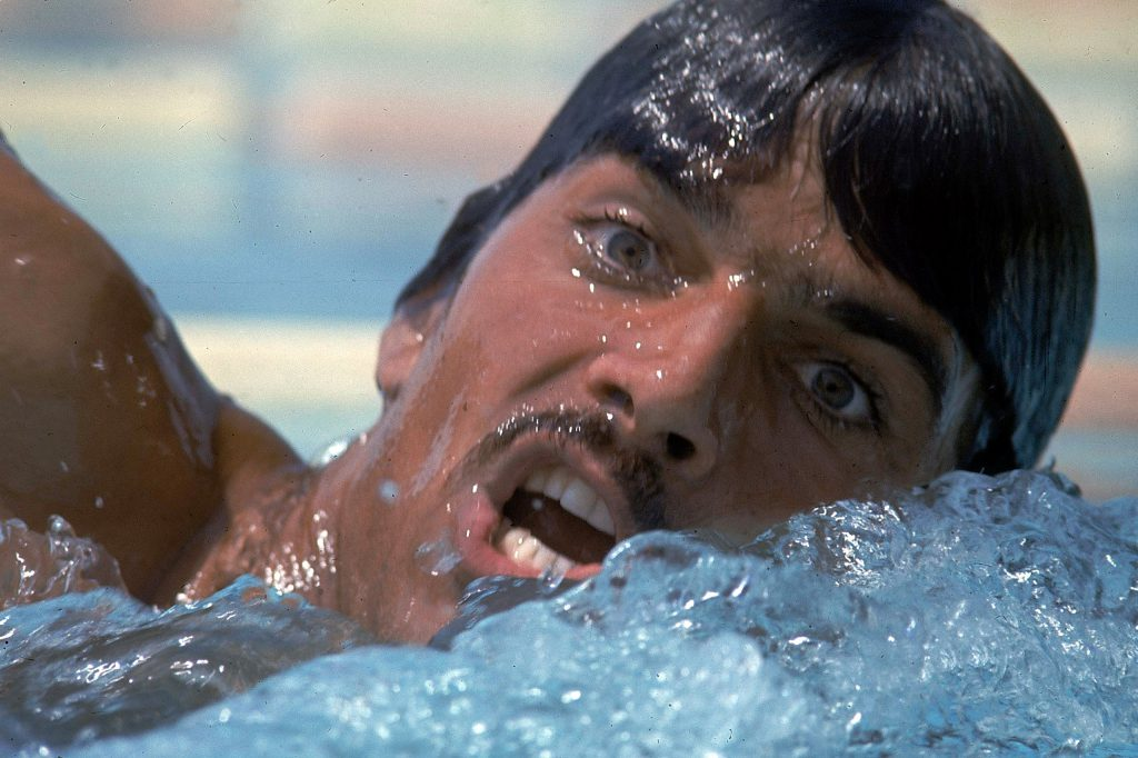 US swimmer Mark Spitz training for the 1972 summer Olympics in Munich, West Germany.