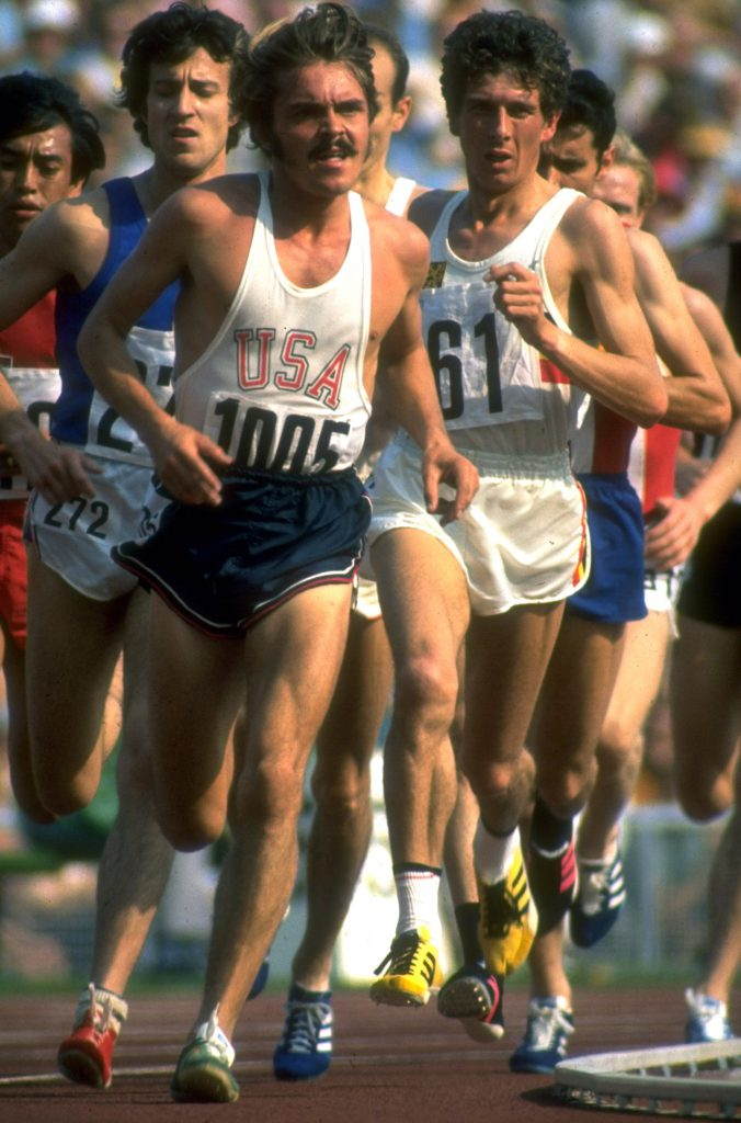 US track athlete Steve Prefontaine running a race at the 1972 summer Olympics in Munich, West Germany.