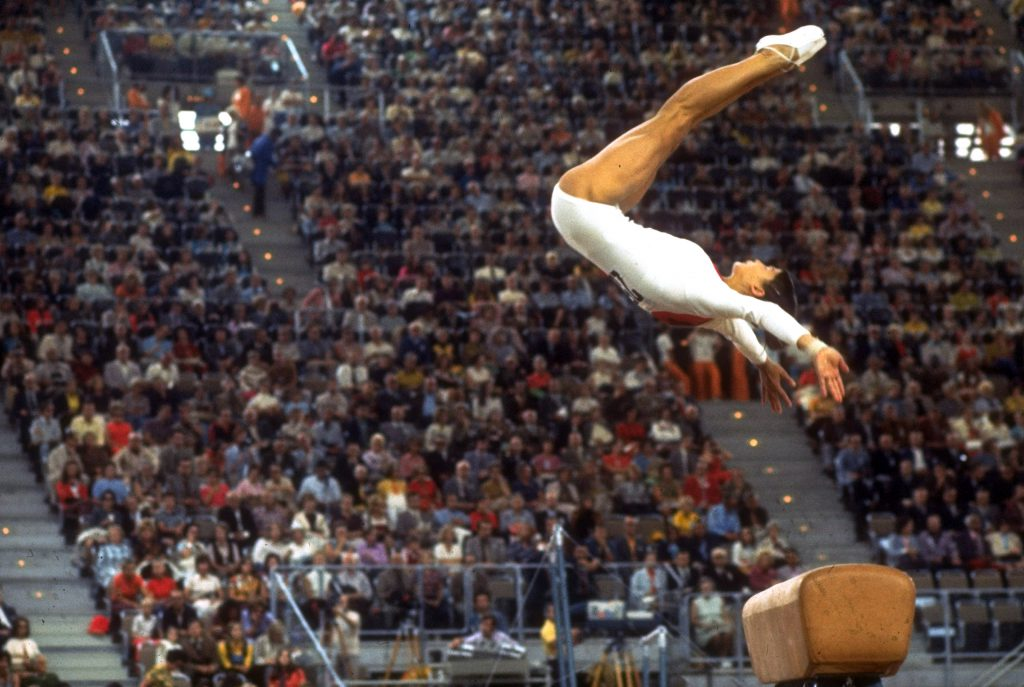 U.S. gymnast Ludmila Turishcheva in action on the vault at during the 1972 Summer Olympics in Munich, West Germany.
