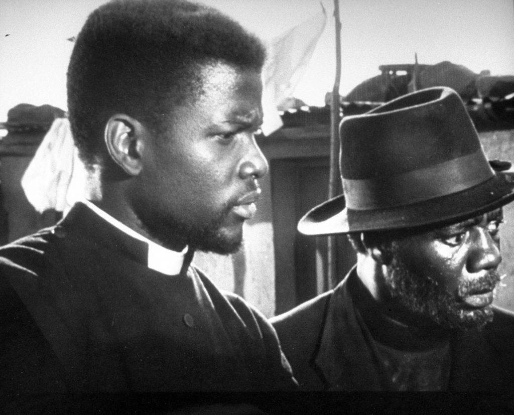 """Sidney Poitier in scene from film """"Cry The Beloved Country,"""" 1952."""