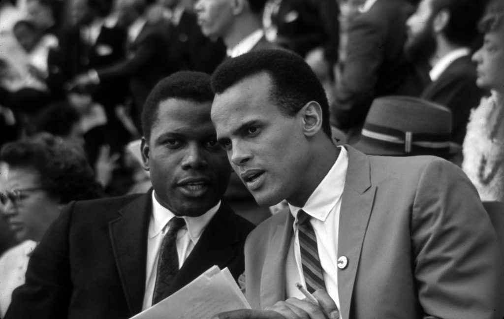 Sidney Poitier and Harry Belafonte at the March on Washington for Jobs and Freedom, 1963.