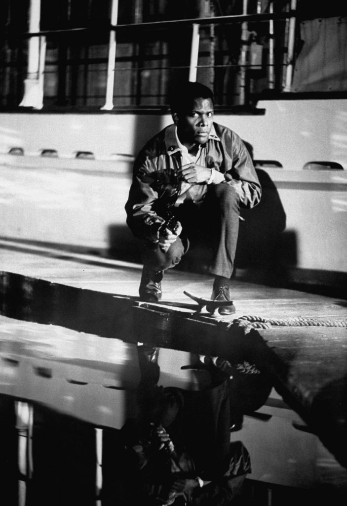 """Sidney Poitier filming scenes in """"The Lost Man,"""" 1968."""