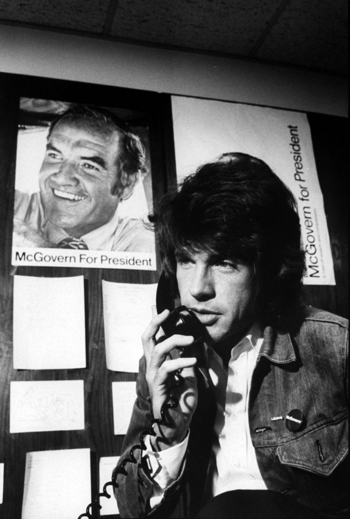 Warren Beatty on the phone as he campaigns for Sen. George McGovern's democratic presidential nomination, 1972.