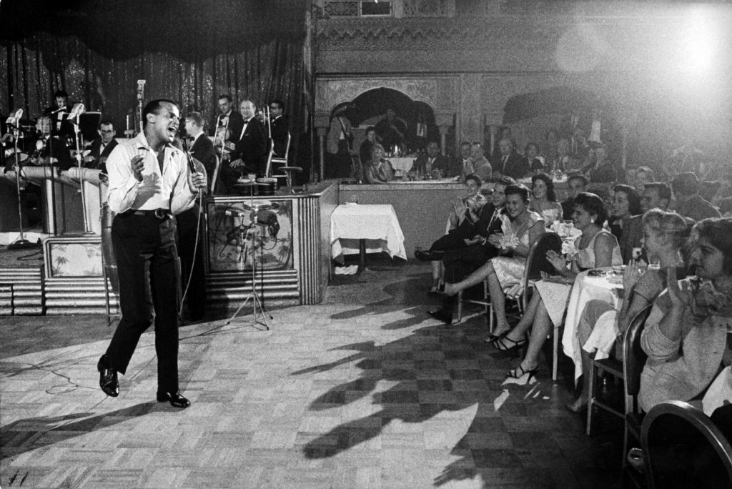 Harry Belafonte performing at the Coconut Grove nightclub, 1957.