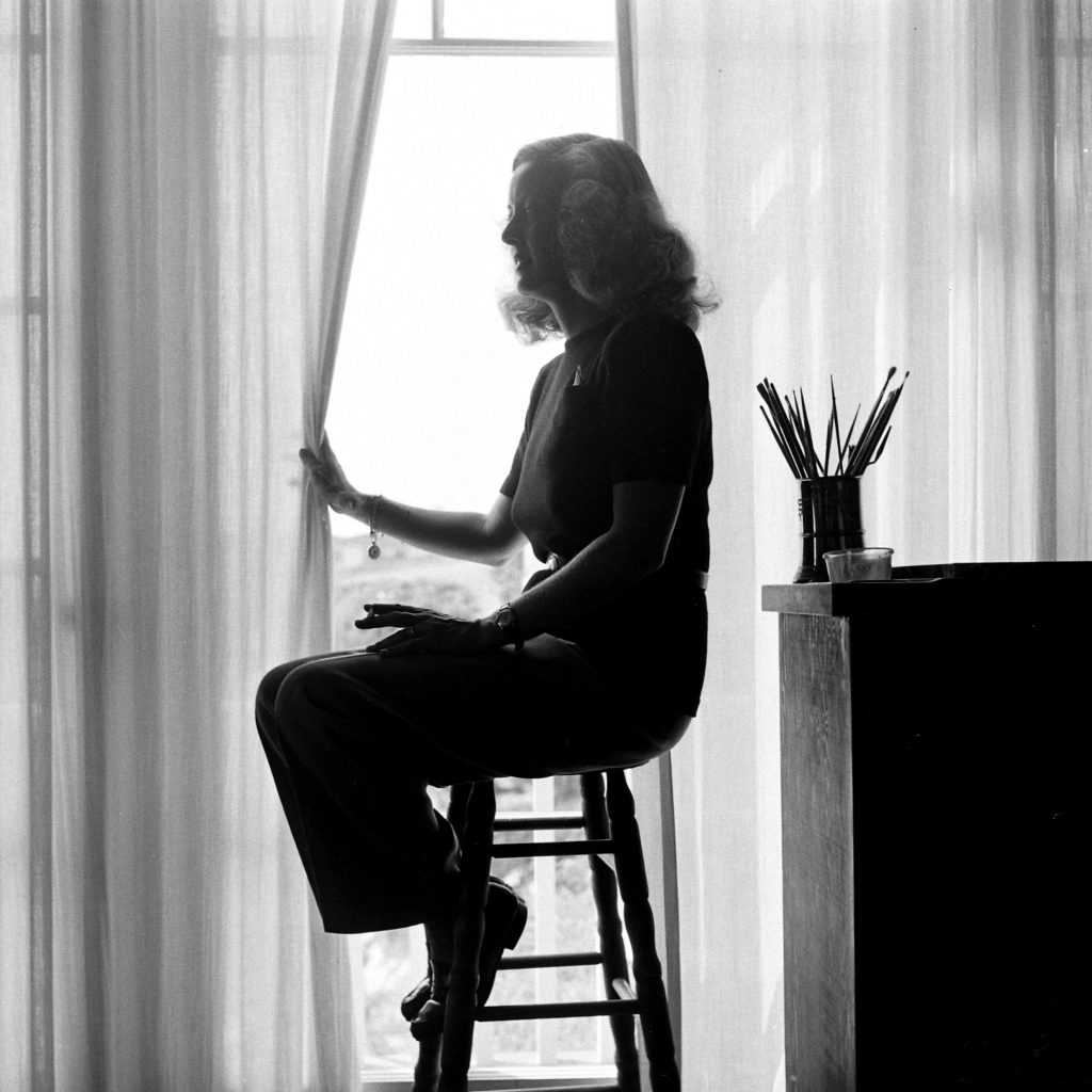Silhouette of Bette Davis at home in California, 1947.