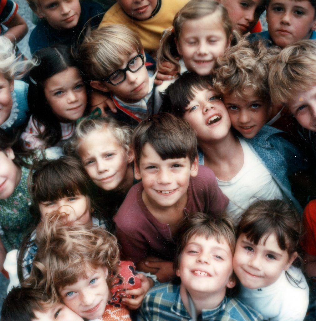 Children at a school in Lancaster County, Penn., photographed with a Polaroid SX-70 camera, 1972.