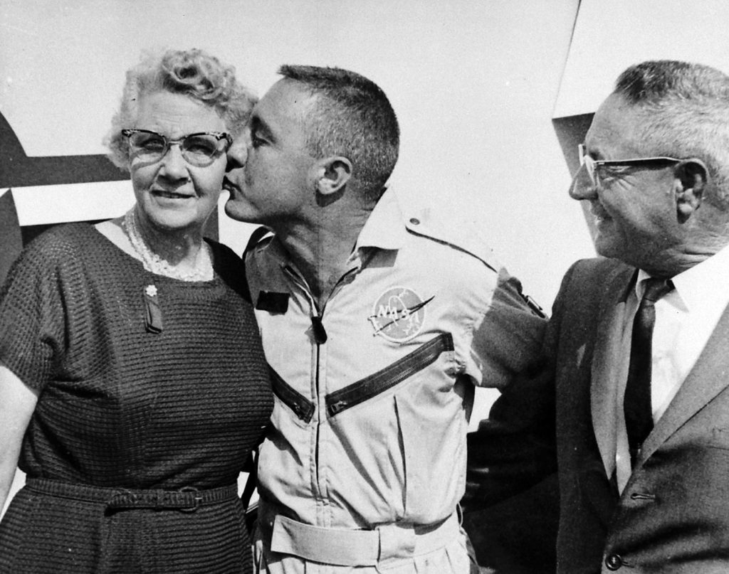 "Astronaut Gus ""Virgil"" Grissom kissing his mother after his successful Gemini 3 mission, 1965."