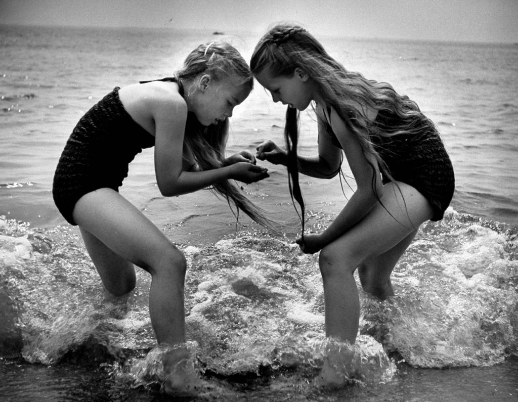 Friends from the Children's School of Modern Dancing, playing at the beach, 1953.